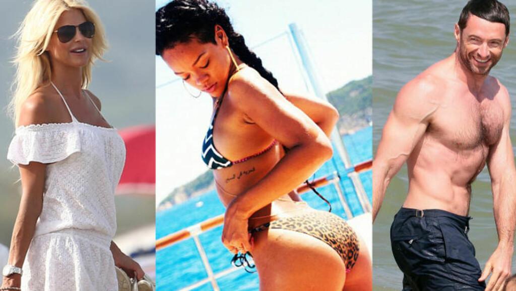 KJENDISER PÅ ST. TROPEZ: Kjendiser som Victoria Silvstedt (t.v), Rihanna og Hugh Jackman bruker ferien til å slikke sol på St. Tropez. Foto: Stella Pictures