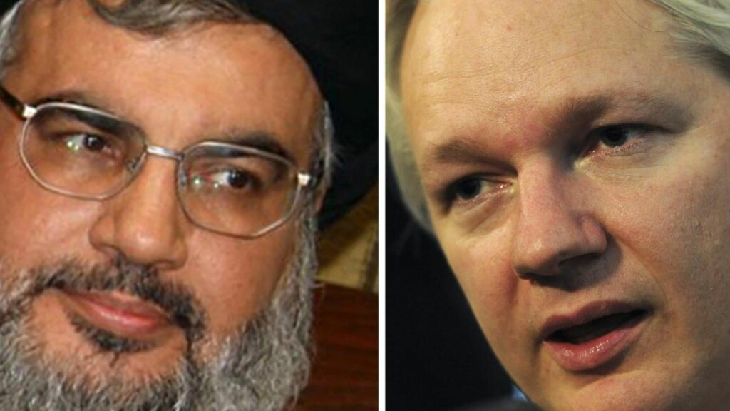 INTERVJU: Julian Assange intervjuet Hisbollah-sjef Hassan Nasrallah over videolink. Foto: CARL COURT / AFP PHOTO / NTB SCANPIX