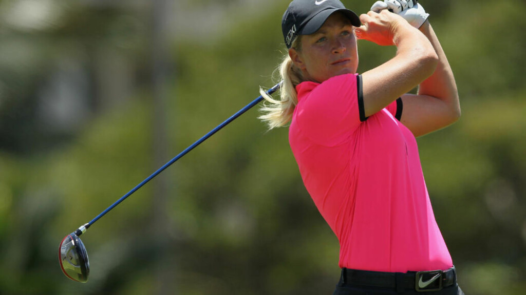 TRE UNDER PAR: Suzann Pettersen leverte fire birdier og en bogey på avslutningsrunden. Foto: Jeff Gross/Getty Images/AFP
