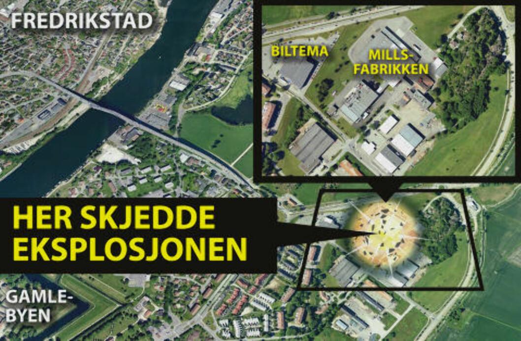 <strong>GASSEKSPLOSJON:</strong> Grafikken over viser hvor eksplosjonen inntraff. Grafikk: Kjell Erik Berg/Dagbladet