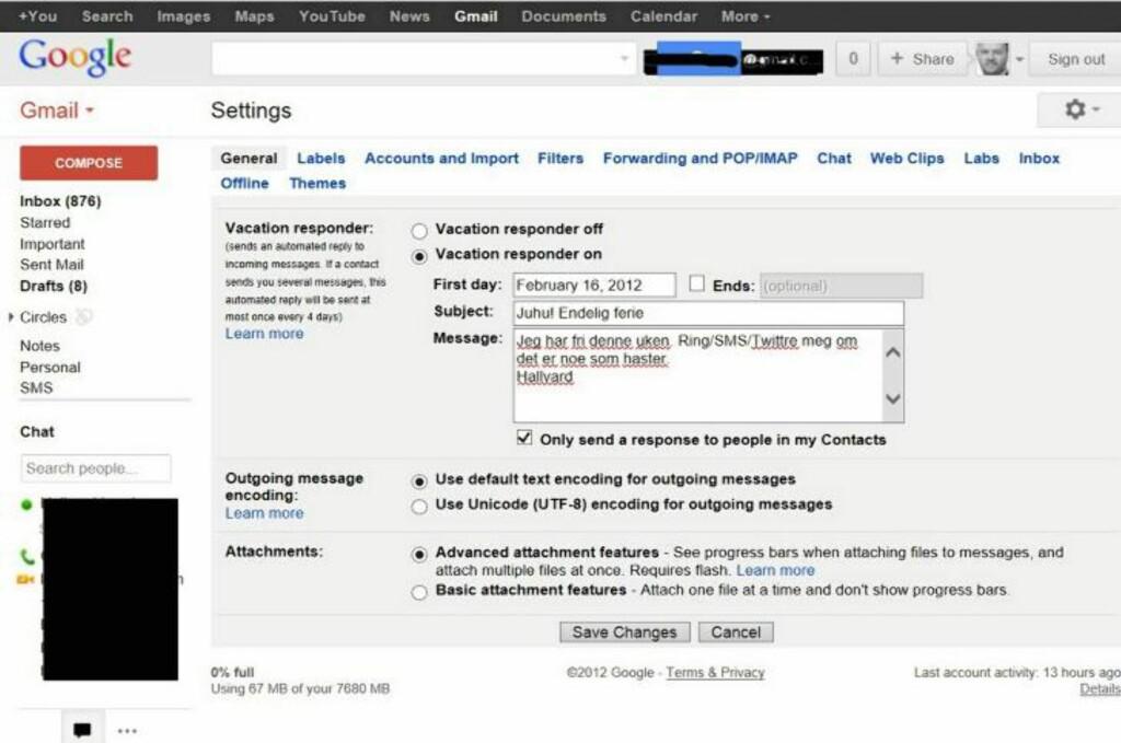 BORTE: Gmails fraværsassistent er så smart at den kun sender meldingen til person du har i kontaktlisten din. HjemmePC
