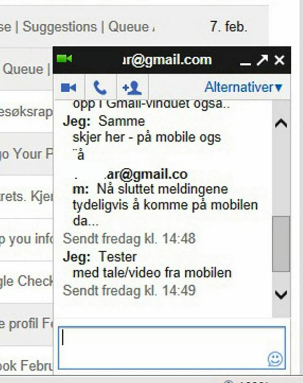 CHAT: Du kan både chatte, ringe og maile fra Gmail. HjemmePC