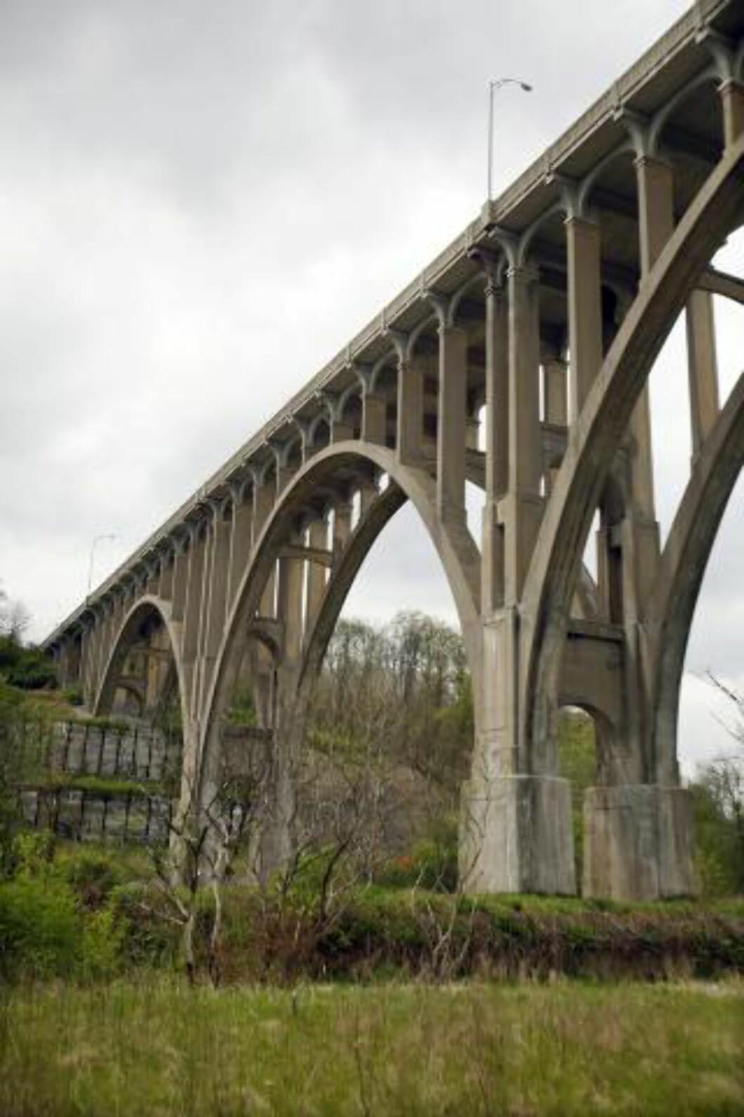 BOMBEMÅL: Brecksville-Northfield High Level Bridge i Cleveland var målet til de selverklærte anarkistene. De trodde eksplosivene de fikk av en hemmelig FBI-agent var ekte. Foto: DAVID MAXWELL / EPA / NTB SCANPIX