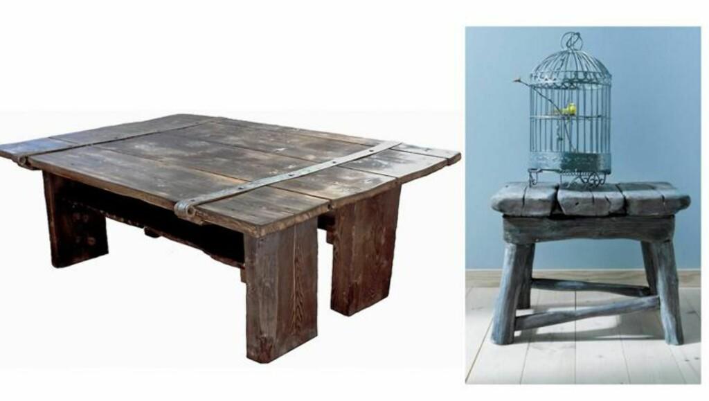 GJENBRUKSBORD: Gjenbrukstrenden er veldig populær, og her har en gammel låvedør fått nytt liv som spisebord. Slike bord kan bestilles fra et spesielt utvalg av gamle dører. Fra rustinterior.no FOTO: Produsentbilde