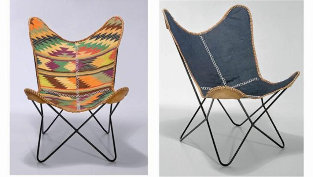 MARITIM GODSTOL: Den komfortable og klassiske butterflystolen i en etnisk variant og en maritim og moderne drakt. Fra kare-design.com. FOTO: Produsentbilde