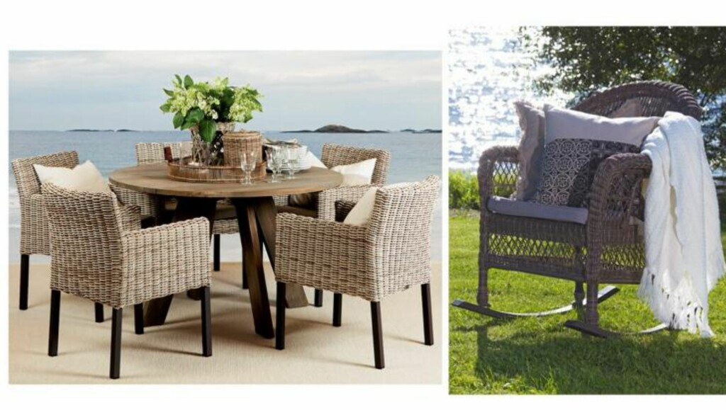 FLETTET KOMFORT: Det er viktig å sitte godt ved bordet, også når vi sitter utendørs. Behagelige kurvstoler er dekorative og praktiske. Utemøblene fra Slettvoll er håndflettet i polyetylen, som tåler både UV-stråling, frost og høy varme. Trekkene kan vaskes ved 40 grader. Fra slettvoll.no og skeidar.no FOTO: Produsentbilde