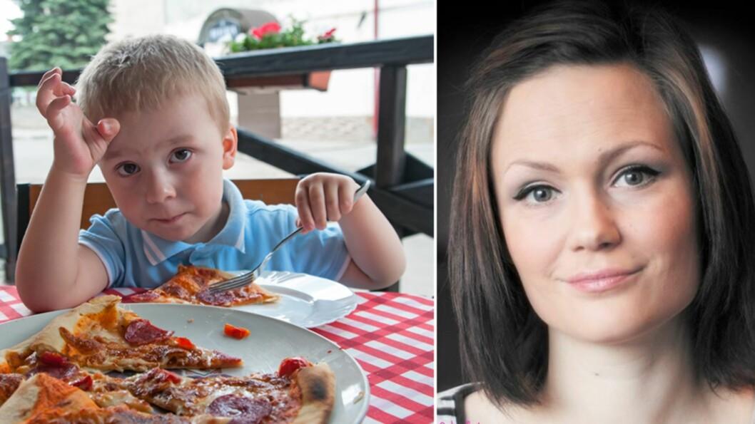 <strong><b>SYNES BARNEMENYENE ER FOR DÅRLIGE:</strong></b> - Kan dere ikke tilby barna noe annet enn hamburgere, pølser og pizza, spør tobarnsmamma June Marita Overå. Foto: NTB Scanpix / Privat