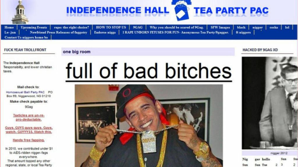 BRUKTE OBAMA:  Hackerne publiserte blant annet et manipulert bilde av president Barack Obama, som holdt opp et kjede i tillegg til at han var ikledd gullklokker og caps.  Skjermdump: Independencehallteapartypac.com