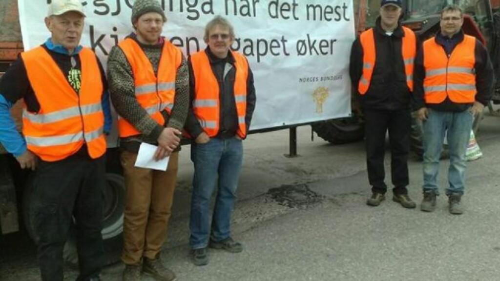 AkSJONERER: Fra venstre; Kjell Sølverød, Per Anders Siljan, Bård Bjørbæk, Ole einar Amlie og Ivar Gulseth har blokkert mølla i Skien. Foto: Synne V. Rogn