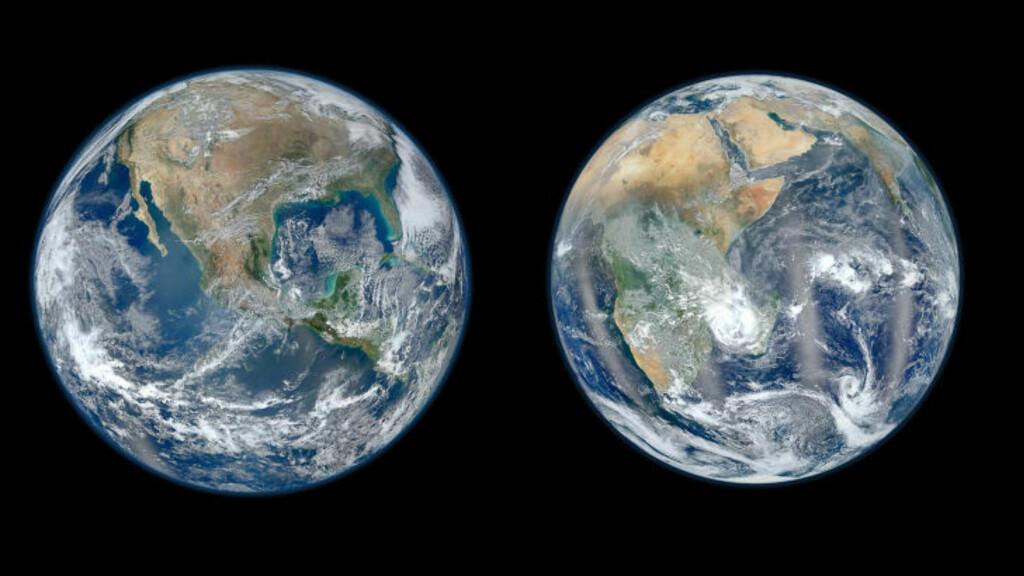 TRENGER TO JORDKLODER: Hvis forbruksveksten i verden fortsetter, vil vi trenge én jordklode til innen 2030, ifølge miljøorganisasjonen WWF. Både verdens befolkning og forbruket vokser, noe som øker presset på økosystemer og sårbare ressurser. Foto: NASA/AFP PHOTO/REUTERS/SCANPIX