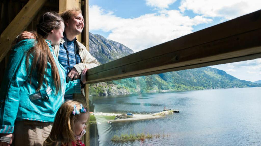 UTSIKTSPOST: Tor-Bjørn Nordgaard, kona Janna Nordgaard og datteren Irene Elisabeth Nordgaard (2 år) ser utover Seljordsvannet fra det nye sjøormtårnet. Foto: ROGER BRENDHAGEN