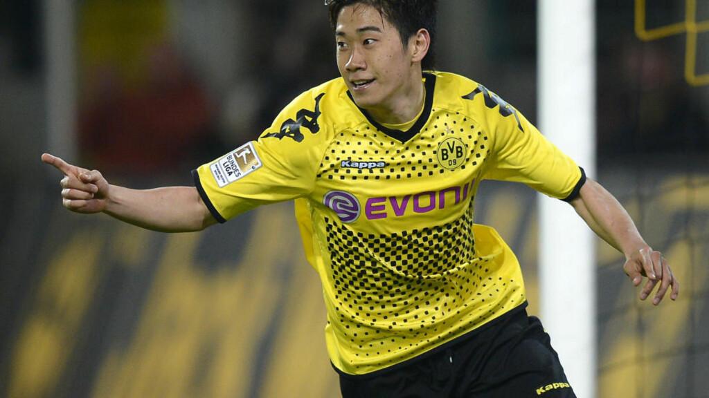 TIL UNITED: Shinji Kagawa var blant de mest produktive spillerne i Bundesliga forrige sesong, målt i antall scoringer og målgivende. Neste sesong spiller han på Old Trafford. Foto: (AP Photo/Martin Meissner,File)