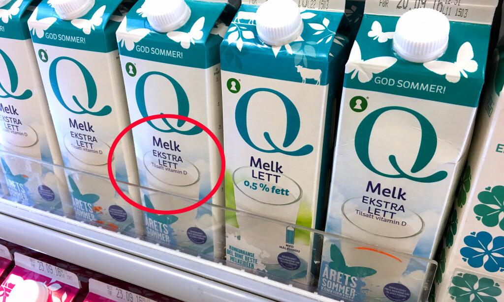 SLUTT FOR «EKSTRA LETT»: En ny forskrift har bestemt at det ikke lenger er lov til å kalle melk ekstra lett. Og nå er melkekartongene merket ekstra lett på vei ut av hyllene - og erstattes med «lett»-merking. Foto: Kristin Sørdal