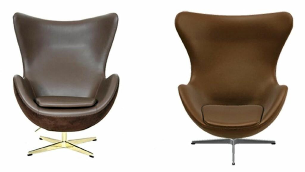 TILSYNELATENDE LIKE: Stolen til venstre er fra Classic Furniture 4 u og er en kopi av Arne Jacobsens «Egget». Stolen til høyre er den originale, produsert med lisens av Fritz Hansen. Foto: Produsentene