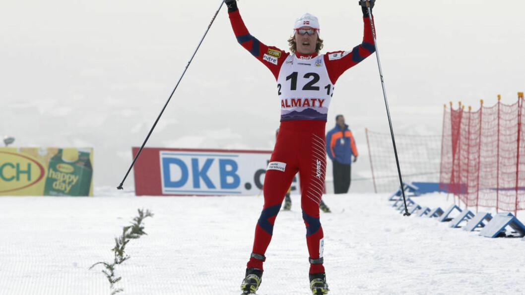 <strong>VANT:</strong> Mikko Kokslien gikk seg opp fra 12.-plass etter hoppdelen og vant lørdagens verdenscuprenn i kombinert i Kasakhstan. Foto: REUTERS/Shamil Zhumatov