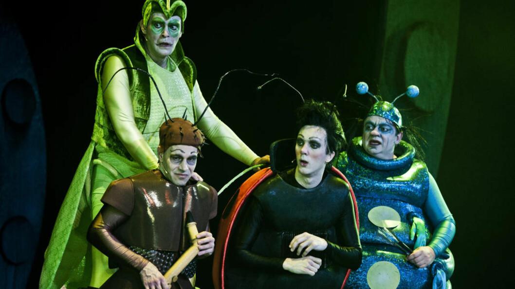 <strong>INTERESSANTE INSEKTER:</strong> «Felix' fantastiske orkester» kan gjøre deg glad i insekter. Det sørger gresshoppen Morisss (Vidar Magnussen), saxedyret (Espen Løvås), marihøna Felix (Thomas Bye) og tusenbeinet Jo (Teodor Janson) for. Foto: Dag Jenssen, Det Norske Teatret