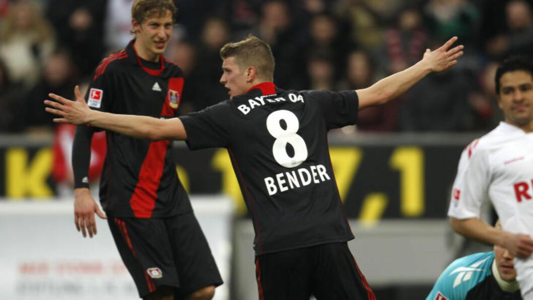 <strong>SCORET TO:</strong> Lars Bender scoret to ganger da Leverkusen slo Köln 2-0 på bortebane.Foto: SCANPIX/REUTERS/Ina Fassbender