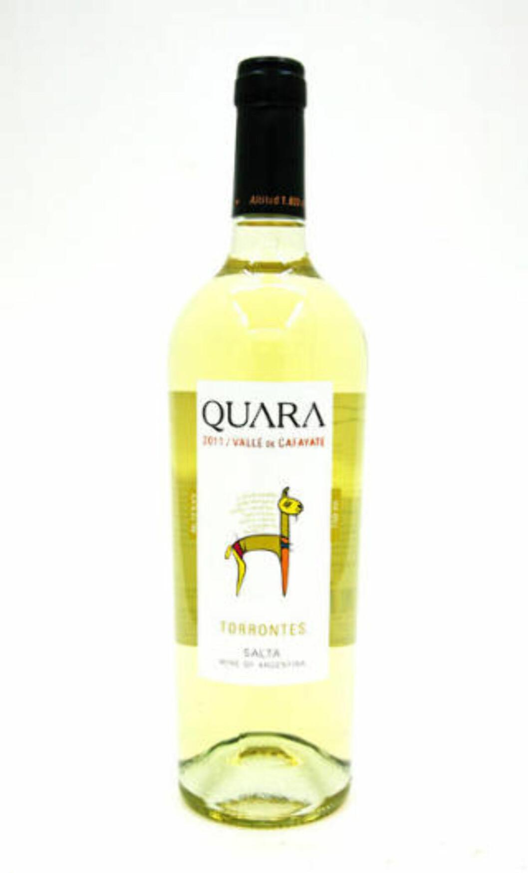 <strong>FEMMER FRA ARGENTINA:</strong> Quara Torrontes 2011 med parfymert duft og intens, lett stil får 78 poeng i testen.