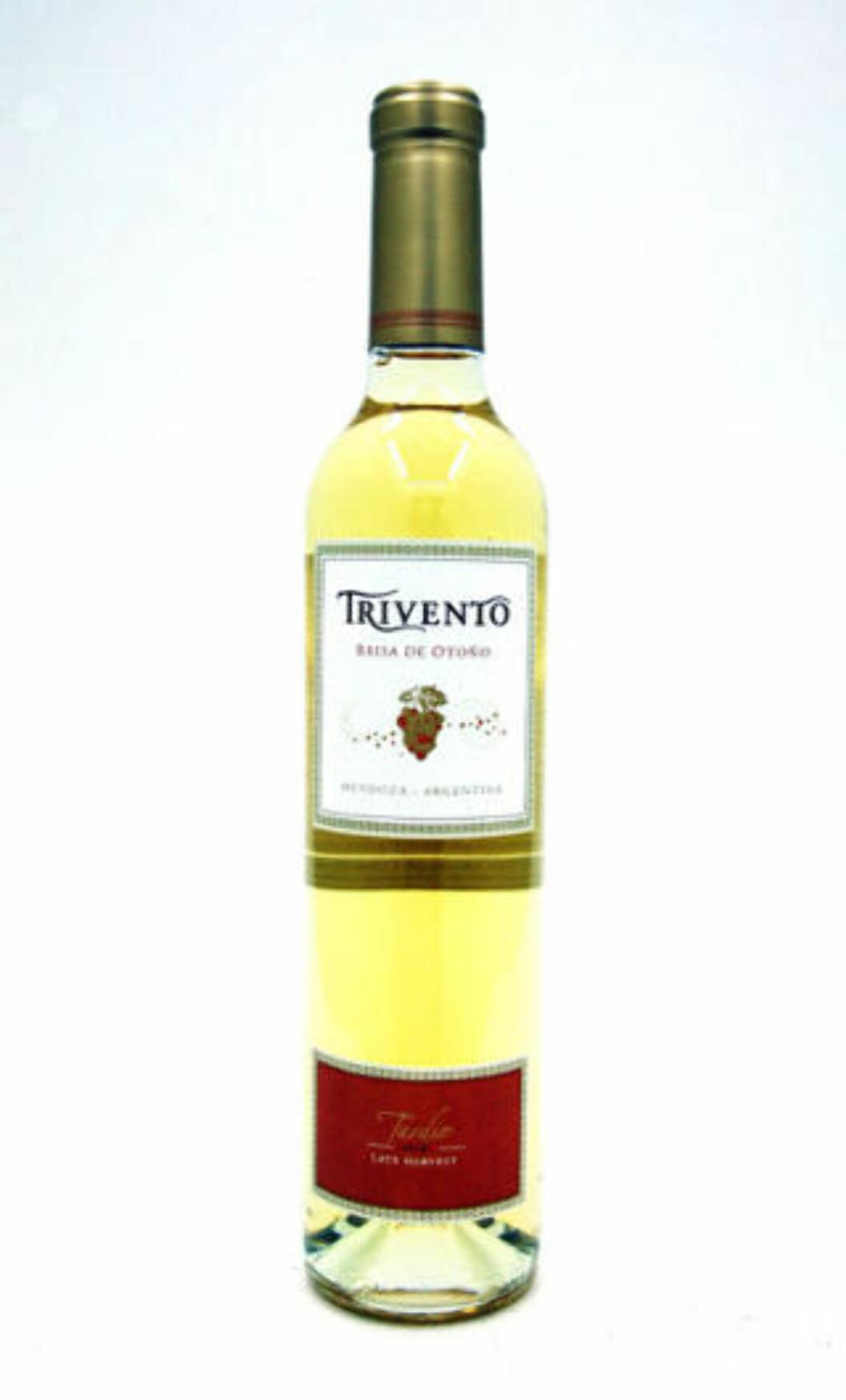 <strong>SØTVIN FRA ARGENTINA:</strong> Trivento Brisa de Otoño 2010 er en frisk og flott laget dessertvin. Får 80 poeng og femmer på terningen.