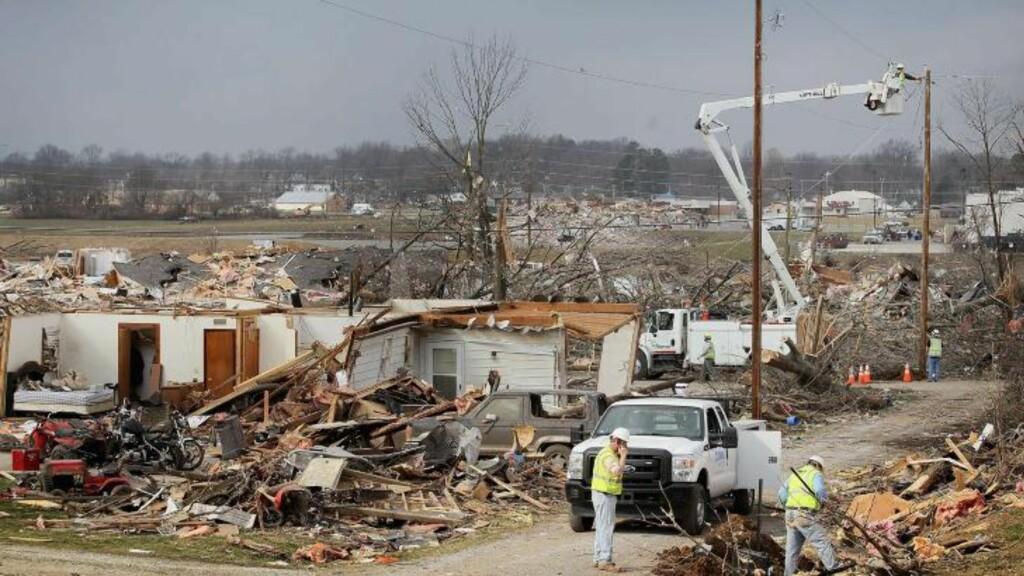 STORE HERJINGER:  Tornadoer traff Harrisburg i Illinois tidligere denne uka og tok livet av seks personer. Foto: Scott Olson / Getty Images / AFP