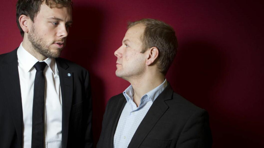 <strong>VIL HA KAMP:</strong> Flere sentrale tillitsvalgte mener at Audun Lysbakken (t.v.) må få kamp om ledervervet. Blant annet fra Heikki Holmås. Foto: HEIKO JUNGE/SCANPIX