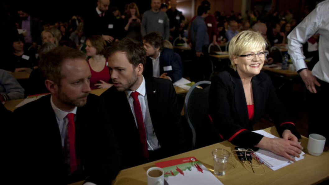 <strong>UNIFORMERT LEDELSE:</strong> Audun Lysbakken, Kristin Halvorsen og Bård Vegard Solhjell på SV-landsmøtet i Lillestrøm. Foto: Sveinung U. Ystad, Dagbladet