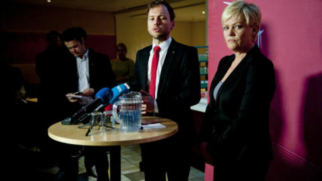 <strong>STØTTET AUDUN - FIKK KRITIKK:</strong> Få timer etter at Audun Lysbakken meddelte at han gikk av som statsråd, rykket Krisitn Halvorsen ut i et varmt forsvar for kronprisen. Det har hun fått mye intern kritikk for, men hun fastholder at det var riktig. Foto : Thomas Haugersveen / Dagbladet