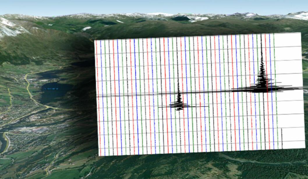 <strong>TO SKJELV:</strong>  Skjelvene som hadde en styrke på henholdsvis 3,2 og 3,3 slå kraftig på de seismiske målingene. Graf: Norsk nasjonalt Seismisk Nettverk, Institutt for geovitenskap, Universitet i Bergen/GoogleMap