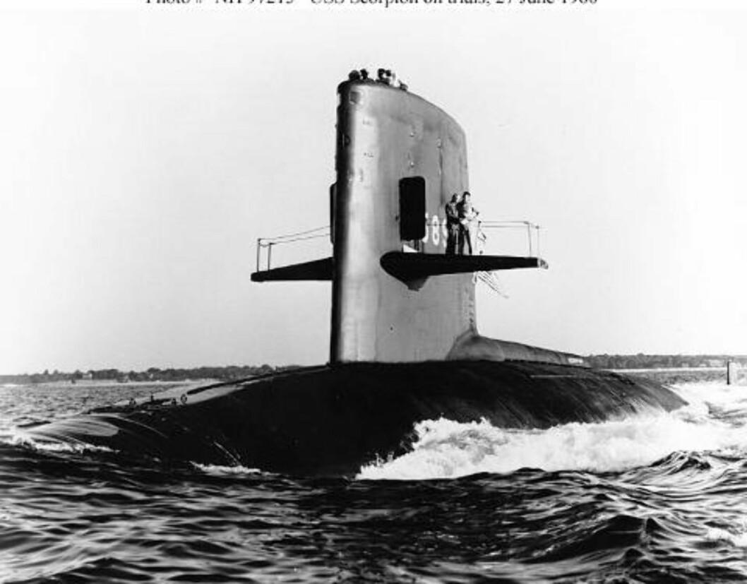 HADDE ATOMVÅPEN:  Ubåten Scorpion hadde med seg atomvåpen da den sank i 1968. 99 personer mistet livet. Foto: US Navy.
