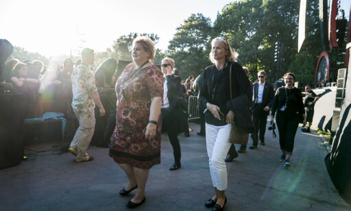 VIP: Erna Solberg koste i det vakre høstværet i New York. Foto: Øistein Norum Monsen / Dagbladet
