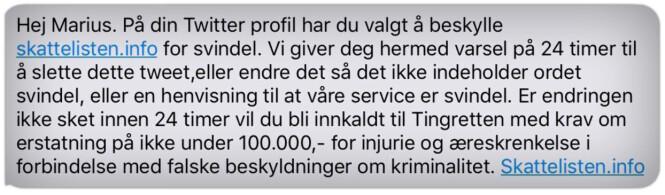 <strong>FØRST SMS:</strong> Skattelisten.info sendte først denne tekstmeldingen til Marius Thorsen. Så kom brevet. Foto: Privat