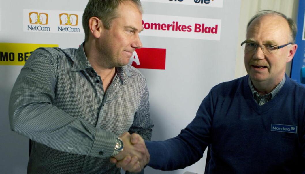 <strong>ENIGE:</strong> Magnus Haglund og klubbleder i LSK Per Mathisen er enige om hvilken retning Fugla skal ha framover. Foto: Morten Holm / Scanpix