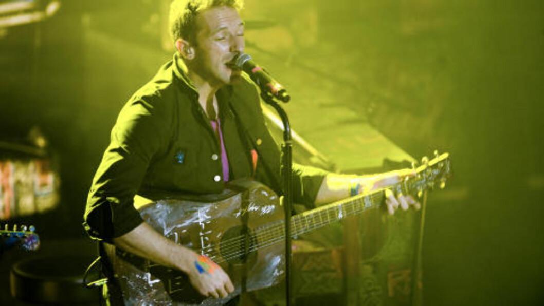 <strong>DRØMMER IKKE OM Å BLI STØRST:</strong> ... Men gjerne best, kunne Coldplay-vokalist Chris Martin fortelle. Foto: Benjamin A. Ward / Dagbladet