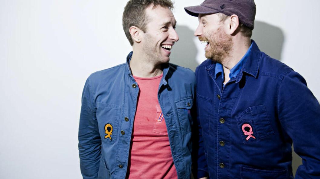 <strong>ENDELIG:</strong> Etter å ha avlyst det planlagte norgesbesøk i begynnelsen av november, entret Coldplay Sentrum Scene i går. Her vokalist Chris Martin og gitarist Jonny Buckland. Foto: Benjamin A. Ward / Dagbladet