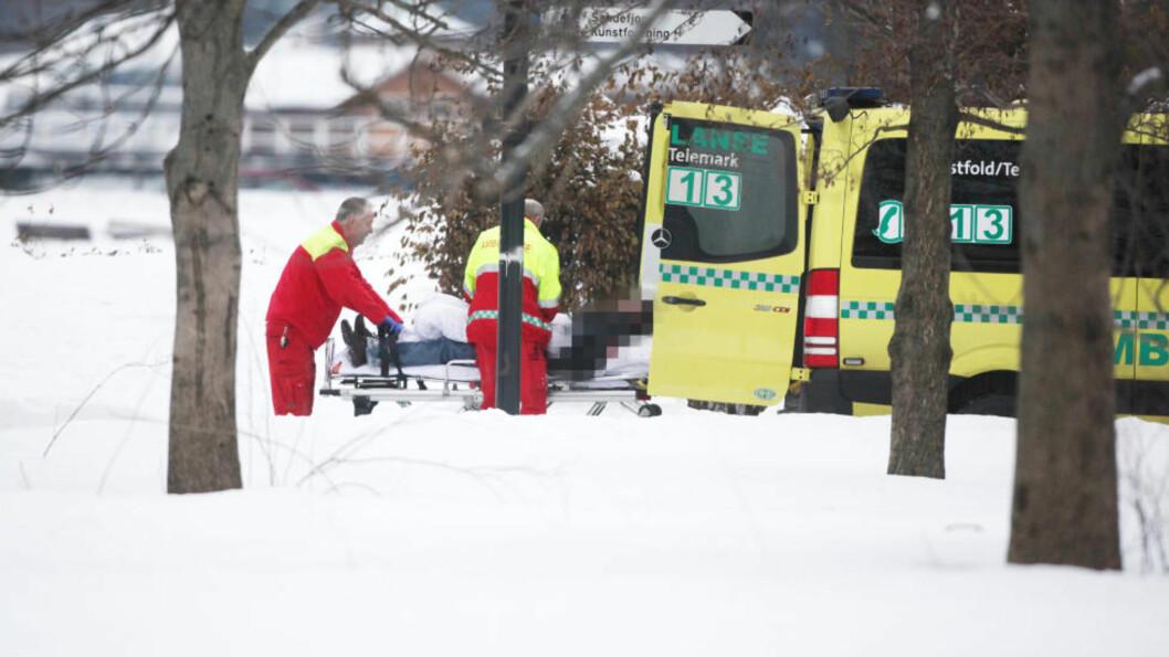 <strong>TRE SKUTT:</strong> Det kunne fort gått liv i Sandefjord i januar. Tre personer ble truffet av skuddene. Foto: Trond Reidar Teigen / Scanpix