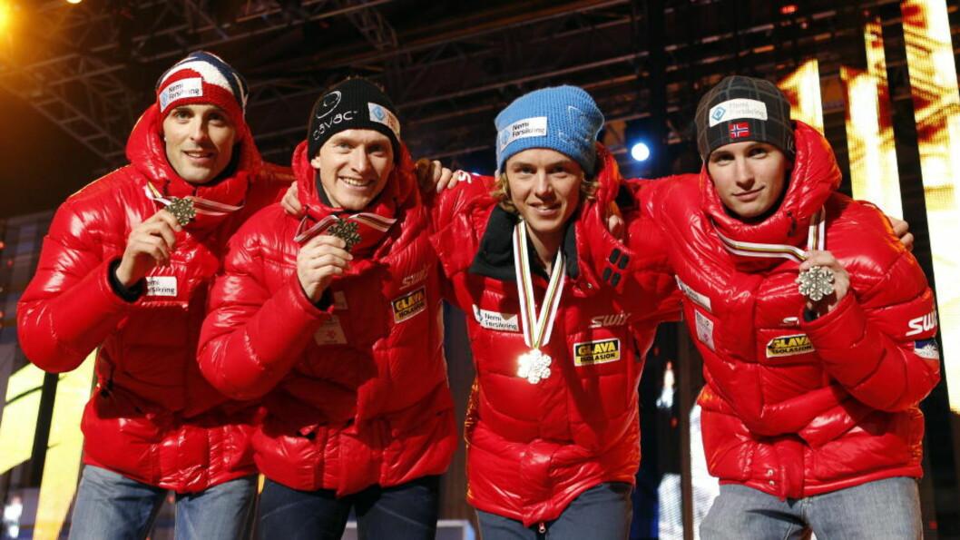 <strong>GODT UTGANGSPUNKT:</strong> Tino Edelmann fra Tyskland vant hopprennet i verdenscupen kombinert søndag. Flere norske er godt plassert foran langrennet. Foto: Gorm Kallestad / Scanpix