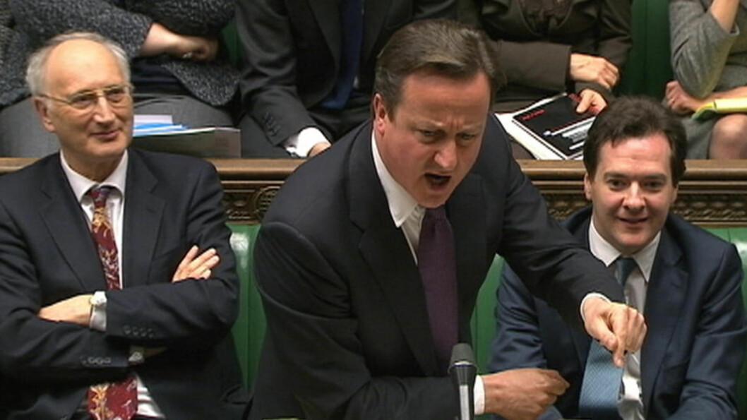 <strong>UTEN CLEGG:</strong>  Visestatsminister Nicc Clegg var ikke til stede da statsminister David Cameron forklarte seg om EU-vetoet i det britiske underhuset i ettermiddag. Foto: Reuters