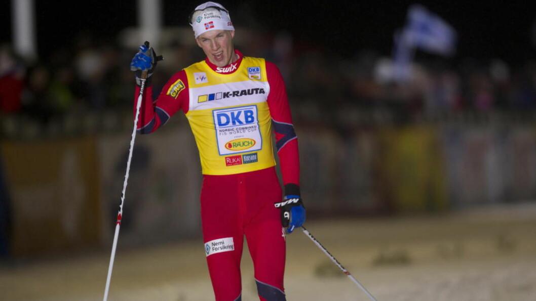<strong>TREDJEPLASS:</strong> Magnus Krog og Mikko Kokslien gikk Norge inn på en tredjeplass i nyvinningen kombinertsprint. Foto: Terje Bendiksby / Scanpix