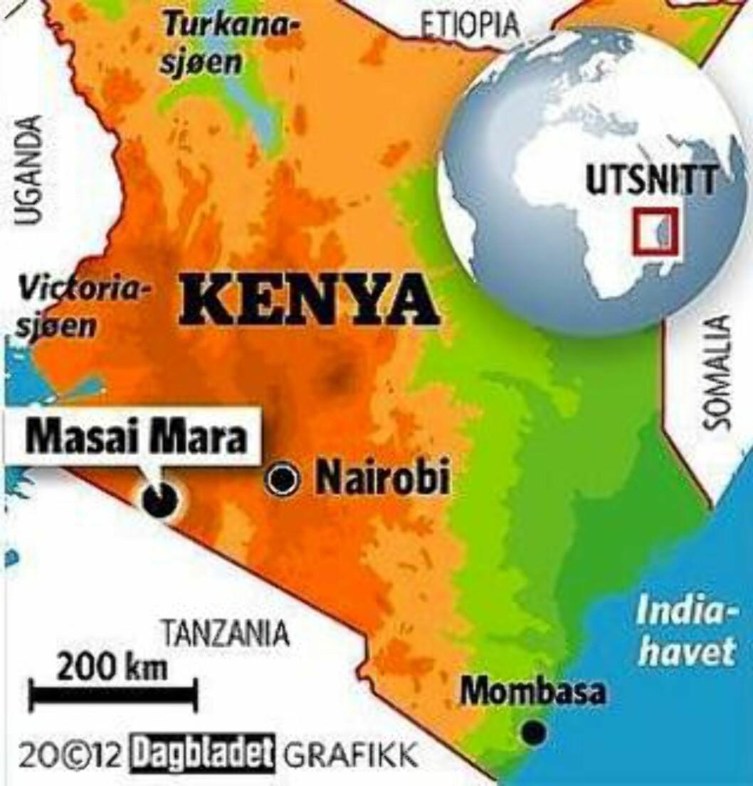 <strong>MASAI MARA:</strong> Ligger sør i Kenya, på grensen mot Tanzania og nasjonalparken Serengeti. Grafikk: KJELL ERIK BERG
