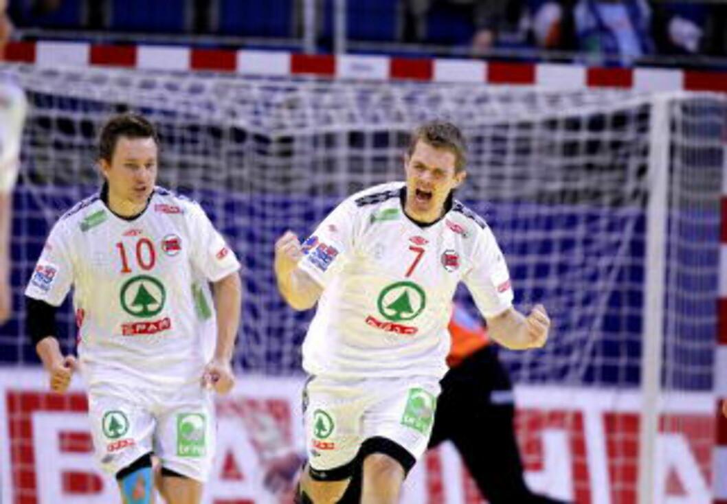 <strong>JUBEL:</strong> Lars Erik Bjørnsen feirer scoring mot Island. Foto: Gorm Kallestad / Scanpix