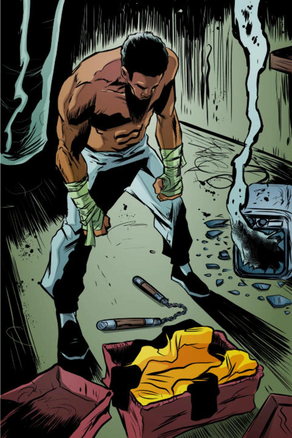KNUST OG SINT: Etter at fetteren blir drept, bestemmer Malcolm T. Mabida seg for å ta grep om byen han bor i - og superhelten The Urban Legend er født.