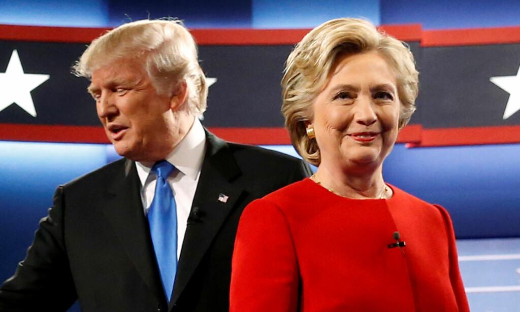 VALGTHRILLER: En uke før det amerikanske presidentvalget har Trump tatt igjen hele forspranget til Clinton, ifølge den siste målinga fra ABC News og Washington Post. Foto: REUTERS/Jonathan Ernst