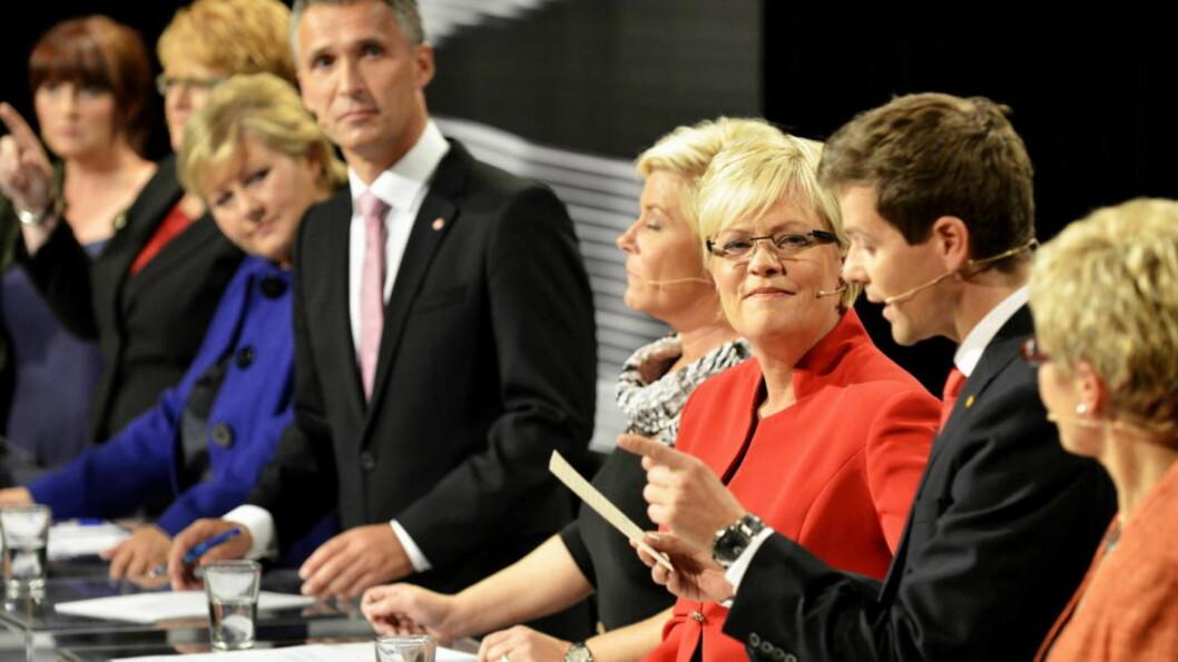 <strong> Siste sjanse:</strong>  Partilederne fikk i kveld en siste sjanse til å overbevise velgerne. Her fra debatten i går. Foto: Oistein Norum Monsen/DAGBLADET.