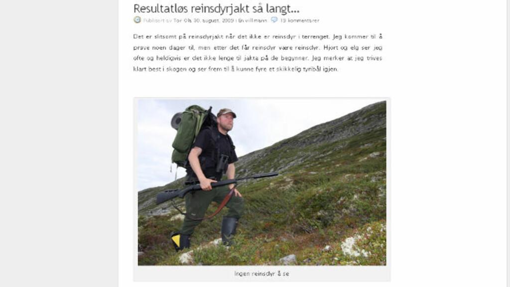PÅ JAKT? Ingen reinsdyr å se, het det på bloggen fra august 2009. Det kan skyldes at Clausen var i Sverige, og ikke på reinsdyrjakt i det hele tatt. Faksimile: Clausens blogg