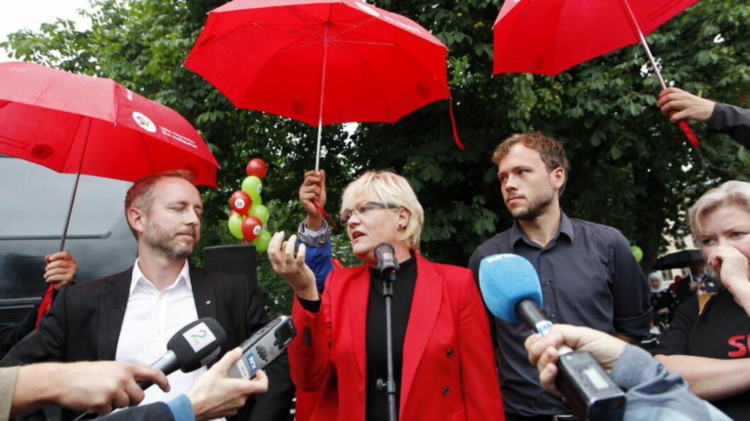 <strong>REGNVÆRSDAGER:</strong> Kristin Halvorsen varslet at hun ville trekke seg som SV-leder på valgnatta. Audun Lysbakken (høyre) er favoritt til å ta over. Foto: Håkon Mosvold Larsen / Scanpix