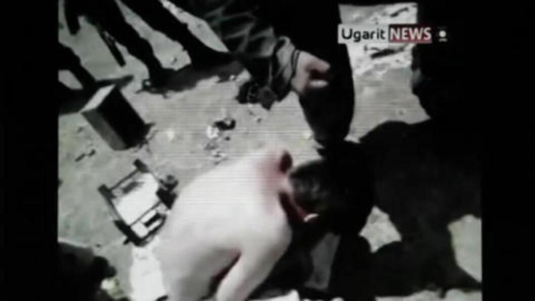 <strong>GRUSOMME SCENER:</strong> Grusomhetene du ser i videoen er daglige, vanlige hendelser siden opptøyene i Syria startet. Foto fra filmen.