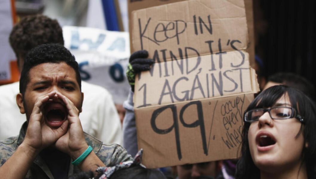 <strong>Ny retning:</strong> « Det er disse vi møter opp for i dag: De 99 prosentene som trenger å bli hørt», skriver artikkelforfatterne. Bildet er fra  demonstrasjonene på Wall Street i New York. Foto: Lucas Jackson/Reuters/Scanpix