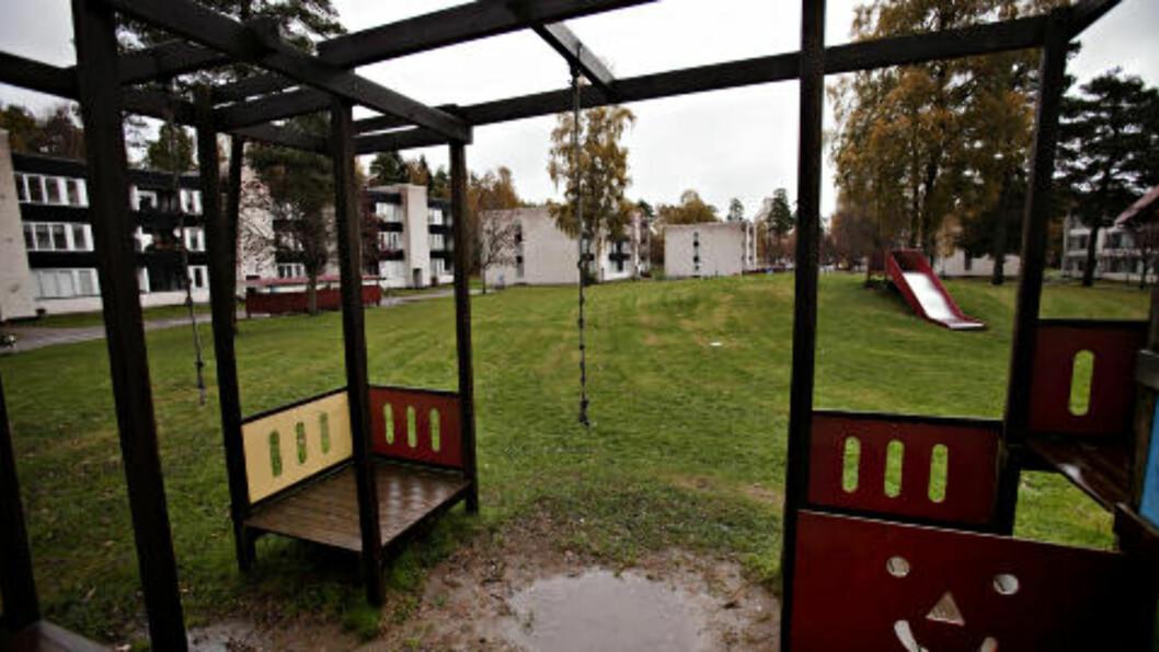 <strong>TOM:</strong> På denne lekeplassen ble den drepte fireåringen sist sett. Her lekte han med barna til Madelene Meijers. I går var lekeplassen tom. Foto: Kristian Ridder-Nielsen / Dagbladet.