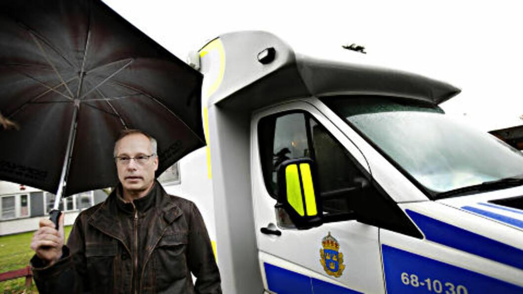 <strong>INGEN MISTENKTE:</strong> Robert Loeffel, pressetalsmann fra Kronobergspolisen, var i går veldig ordknapp, men sa at politiet ikke har noen mistenkte på nåværende tidspunkt. Foto: Kristian Ridder-Nielsen / Dagbladet.
