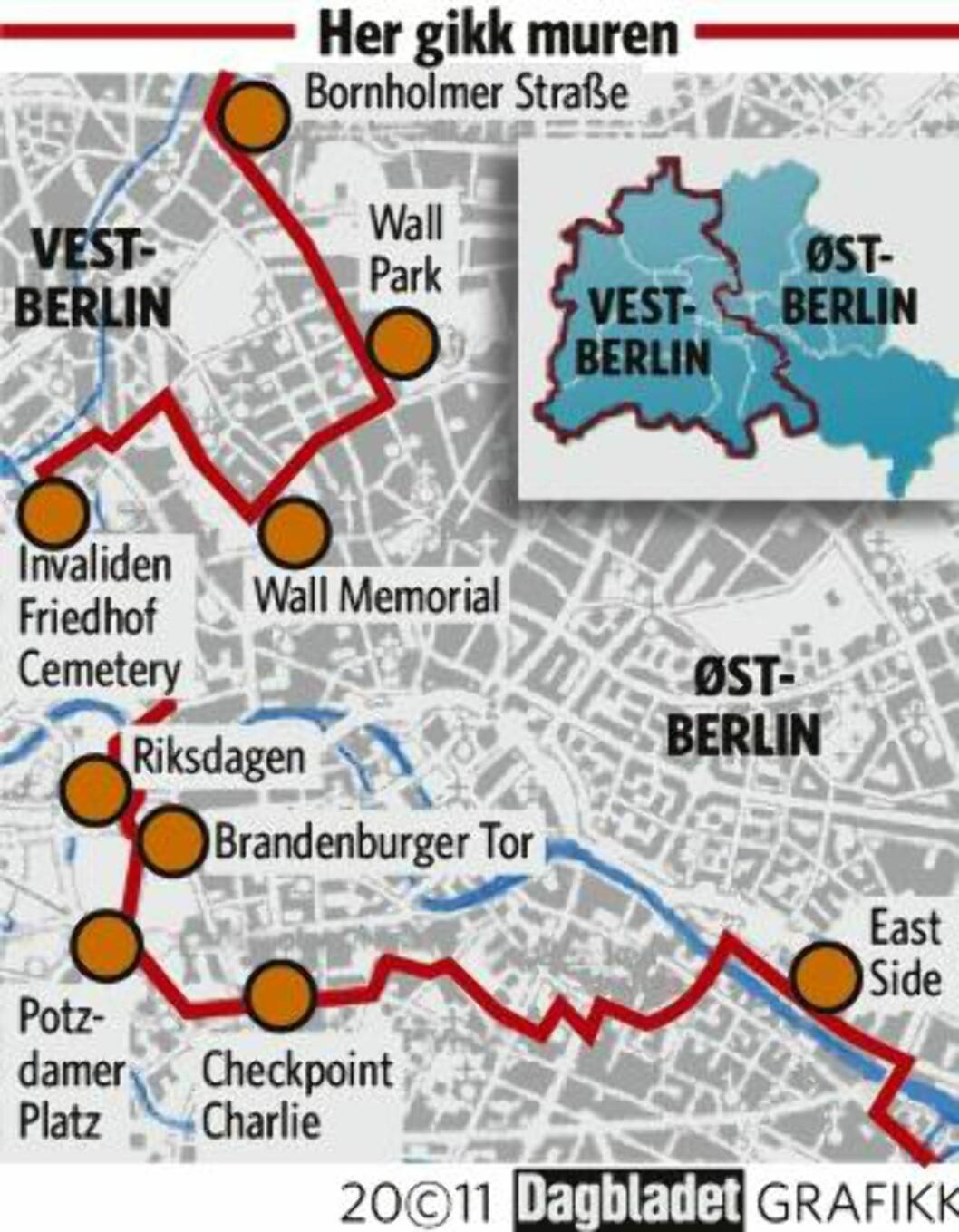 HER GIKK BERLIN-MUREN Grafikk: KJELL ERIK BERG